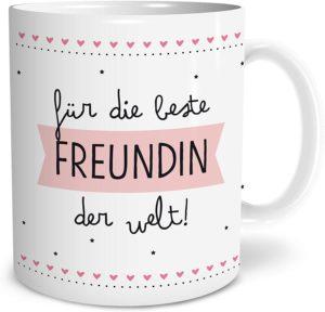 Beste Freundin Große Kaffee-Tasse mit Spruch im Geschenkkarton