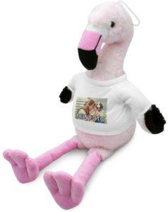 Flamingo als Kuscheltier mit eigenem Foto bedruckt