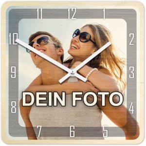 Uhr mit Foto Bedrucken - Fotouhr aus Holz - Wanduhr mit eigenem Motiv selbst gestalten