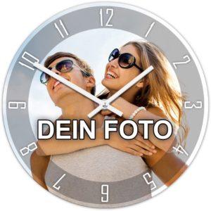 Uhr mit eigenem Foto bedruckt in runder Form und Zeigern