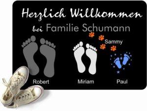 Fußmatte Füße | Pfoten mit Vornamen & Familien