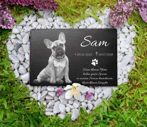 Grabstein für Tiere mit Namen und Foto graviert