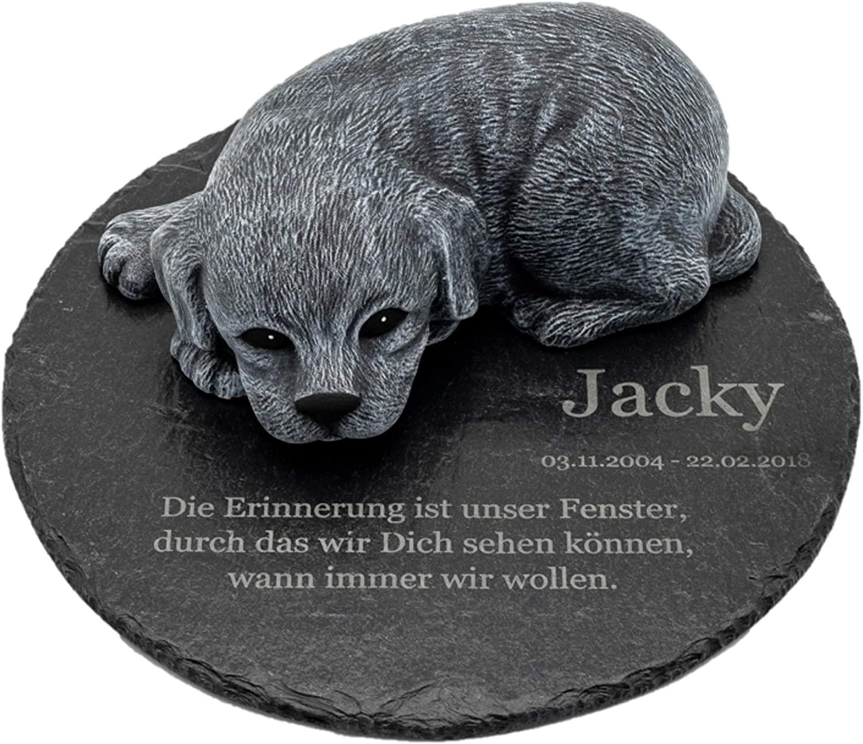 Gedenkstein Hund mit Wunschtext als Gravur