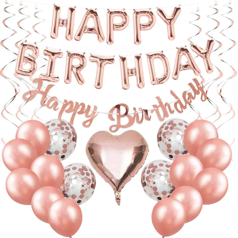 Happy Birthday Ballon Rose Gold Girlande Geburtstagsdeko Mädchen Folienballons Rosegold
