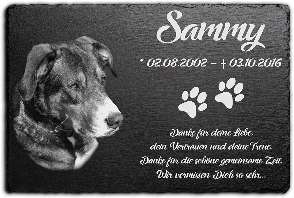 Grabstein für Hunde mit Foto und Namen graviert