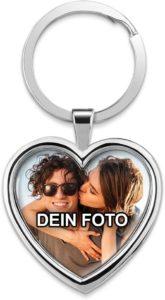 Chrom-Schlüsselanhänger mit eigenem Foto unter Domingoberfläche