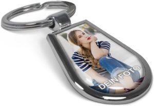 Chrom Schlüsselanhänger in Tropfen-Form mit eigenem Foto