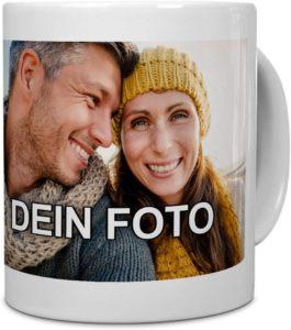 Tasse mit Foto aus Keramik in weiß