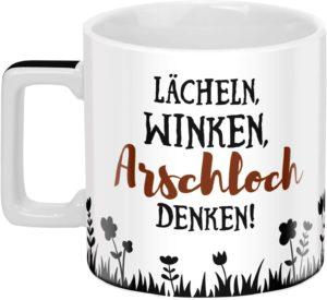 Sheepworld 46529 Wortheld Spruch, Lächeln Winken, Porzellan Tasse