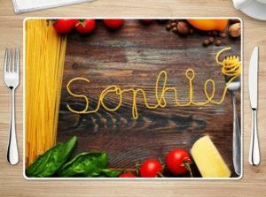 Tischset mit Namen bedruckt - Foto von Spaghetti