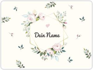 Tischset mit Namen bedrucken lassen - Florales Design mit Blumen und Namenseingabe