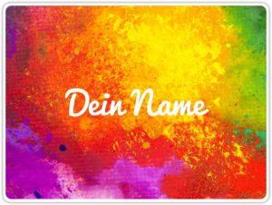 Tischset mit Color Farben Motiv und eigenem Namen bedruckt