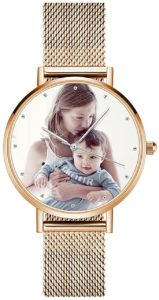SOUFEEL Personalisierte Foto Armbanduhr für Damen Herren Analog Metallarmband in Silber/Rosegold Klassisch Zifferblatt Wasserdicht