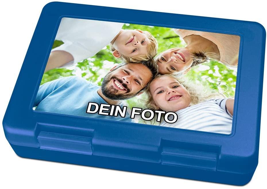 Brotdose mit Foto bedrucken in blau