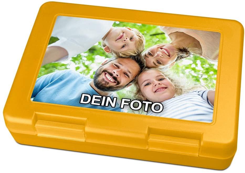 Brotdose mit Foto bedrucken in gelb