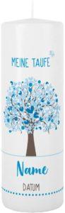 Taufkerze 250/80 mm mit Lebensbaum und Aufdruck des Namen und Datum sowie Taufspruch Weiß