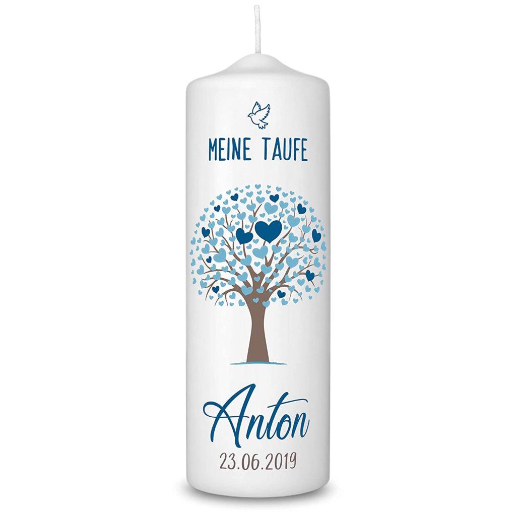 Taufkerze in Weiß personalisiert - 360° Druck mit Namen und Datum mit Lebensbaum