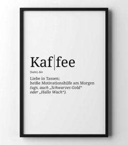 Poster mit der Definition Kaffee WG in A4 und weiteren Formaten