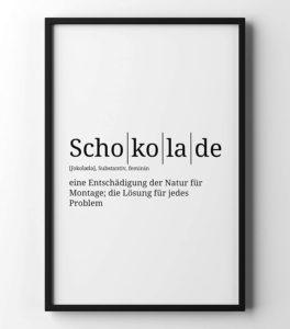 Poster mit der Definition Schokolade in A4 und weiteren Formaten