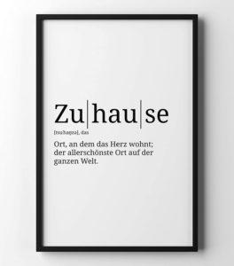 Poster mit der Definition Zuhause in A4 und weiteren Formaten