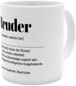 Tasse mit Wort Bruder Beschreibung