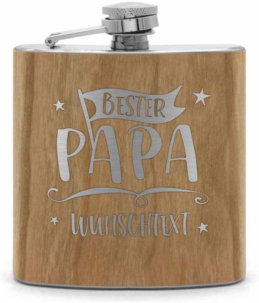 Holz Flachmann mit Name oder Text graviert - Schnaps-Flasche mit Namensgravur selbst gestalten - Motiv: Bester Papa