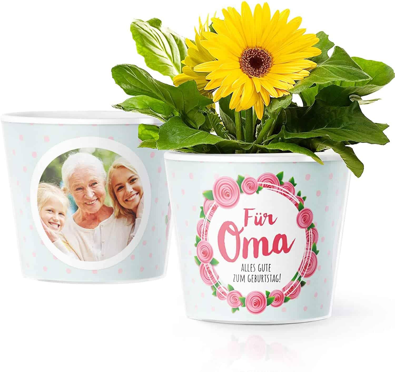 Facepot Geburtstagsgeschenk für Oma - Blumentopf (ø16cm) mit Bilderrahmen für Zwei Fotos