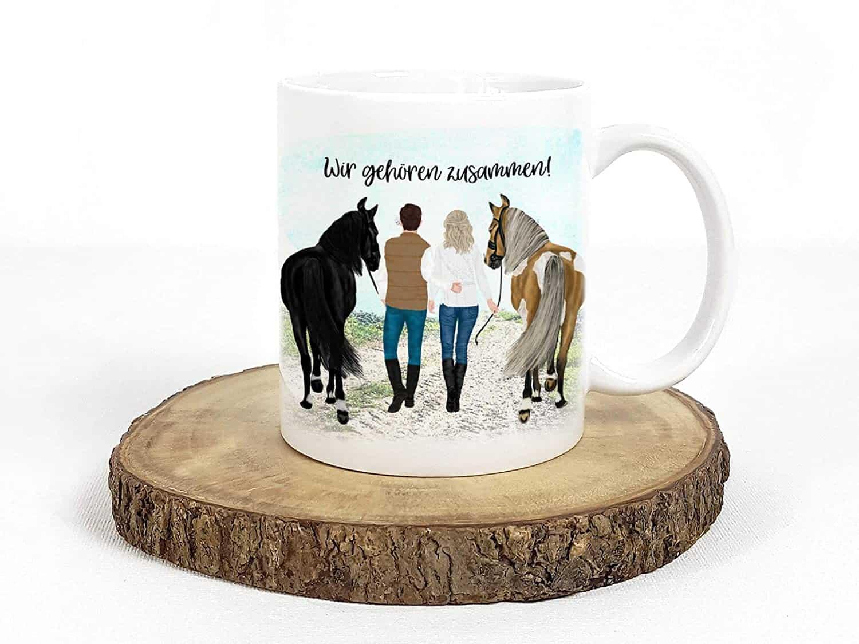 Personalisierte Tasse Pferd und Reiter mit Namen und Spruch Pferdetasse