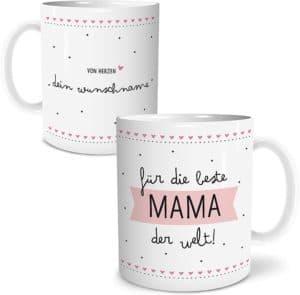 Beste Mama Große Kaffee-Tasse mit Spruch im Geschenkkarton Muttertagsgeschenk Personalisiert mit Namen